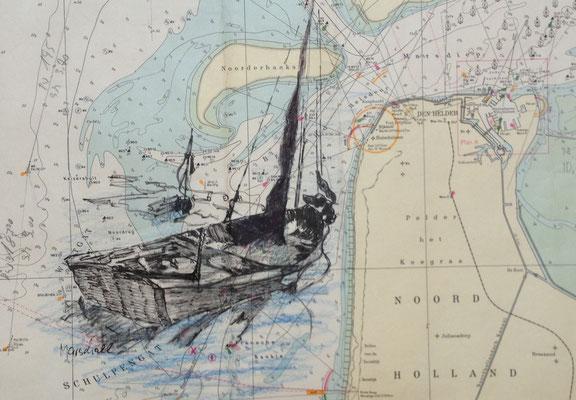 """Jolle  vor Nord-NL"",  MT a. Seekarte , 40 x 50, Kat.-Nr. 00199"