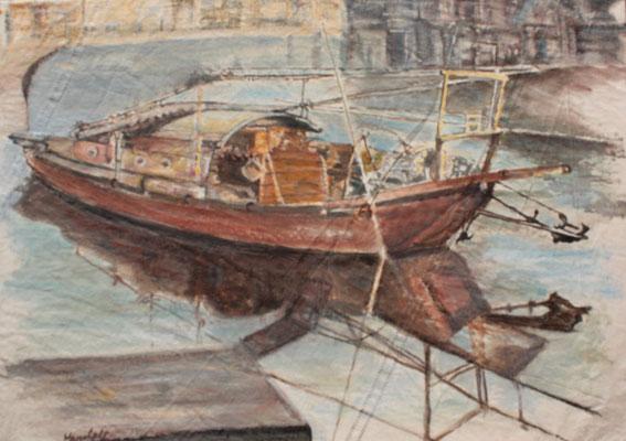"""Fischerboot in China"", Acryl a. Segel, 50 x 70, Kat.-Nr. 11355"