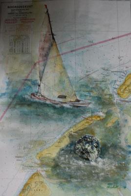"""""""Segler i. Robbenheim"""", Aquarell a. Seekarte, 50 x 35, Kat.-Nr. 12372"""
