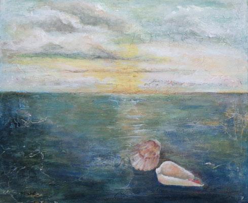 """""""Muscheln in meiner Hand VI"""", Acryl a. Leinw., 60 x 70, Kat.-Nr. 15473"""