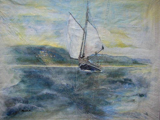 """Küstenfahrt"", Acryl auf Segel, 90 x 105, Kat.-Nr. 06236"