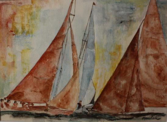"""Drei Freunde"", Acryl auf Segel, 60 x 90, Kat.-Nr. 13455"