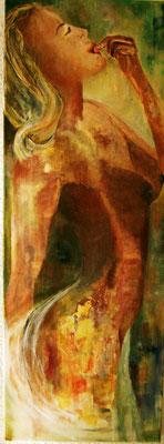 """Kirschenesserin"", Acryl a. Leinw., 110 x 40, Kat.-Nr. 05229 A"