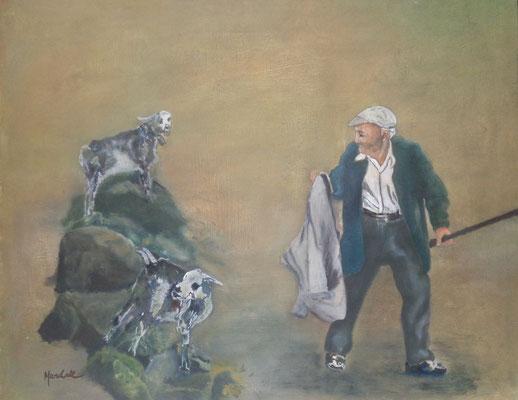 """""""Ziegenhirt Teno Alto"""", Öl-Eitempera a. Papier, 50 x 40, Kat.-Nr. 12388"""