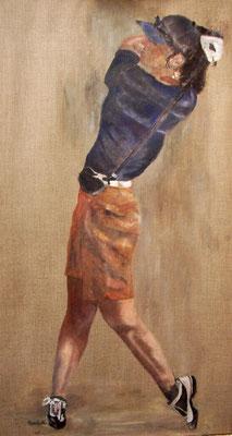 """Golferin"", Acryl a. Leinw., 100 x 55, Kat.-Nr. 07255"