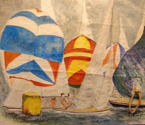 """""""Bunte Spisegler a. der Wendetonne"""", Acryl auf Segel, 100 x 105, Kat.-Nr. 13428"""