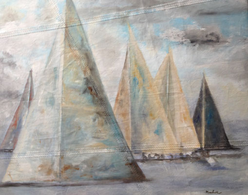 """Geschwaderfahrt"", Acryl auf Segel, 75 x 90, Kat.-Nr. 14465 A"