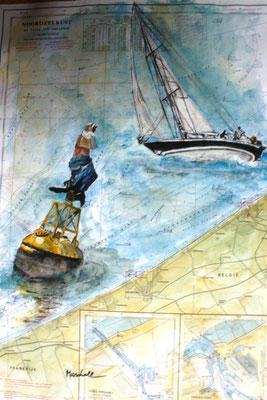 """Meerfrau-Tonne m. Segler"", Aquarell a. Seekarte, 50 x 35, Kat.-Nr. 12383"