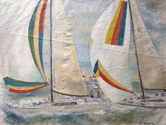 """Spi-Regatta"", Acryl auf Segel, 80 x 100, Kat.-Nr.  11349"