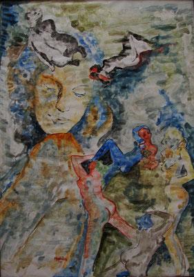 """Tanz i. Wasser"", Aquarell a.Papier, 35 x 50, Kat.-Nr. 00004 A"
