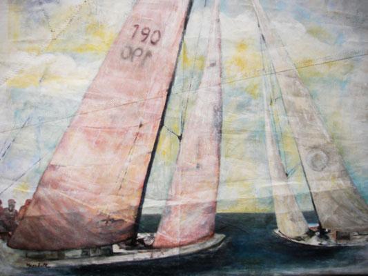 """Regatta 190"", Acryl auf Segel, 90 x 110, Kat.-Nr. 08260"