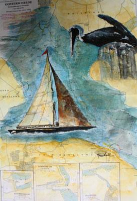 """Segler m. Kormoran"", Aquarell a. Seekarte,50 x 35, Kat.-Nr. 12378"