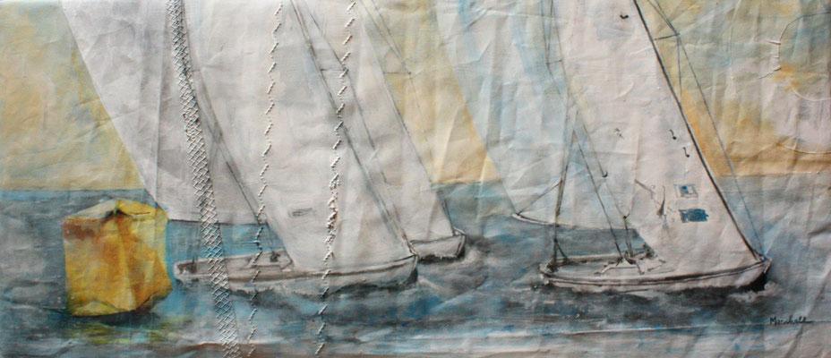 """Regatta an gelber Tonne"", Acryl auf Segel, 40 x 90, Kat.-Nr.  13452"