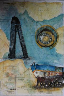 """trocken gefallen"",  Aquarell auf Seekarte, 50 x 35, Kat.-Nr. 12382"