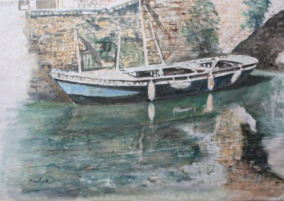 """""""Boot a.d. Mauer"""", Acryl a. Segel, 50 x 70, Kat.-Nr. 11354"""
