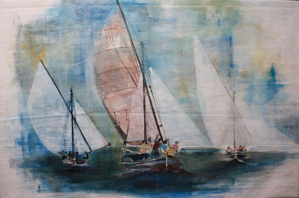 """Lateinersegler Regatta II"", Acryl auf Segel, 80 x 120, Kat.-Nr. 03216"