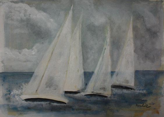 """""""Regatta J 170"""",  Acryl auf Papier, 40 x 30,  Kat.-Nr. 13460"""