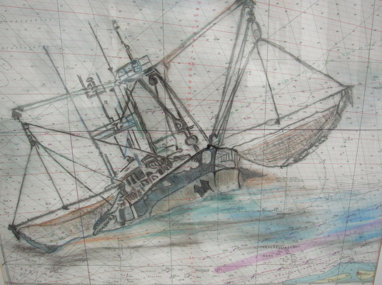 """Kutter a. d. Oosterschelde"",  MT auf Seekarte , 50 x 60, Kat.-Nr. 00170"