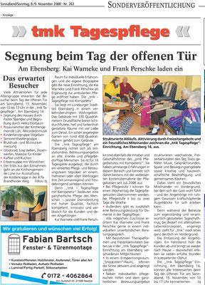 Lüneburger Landeszeitung vom 08.11.2008 - TMK-Tagespflege