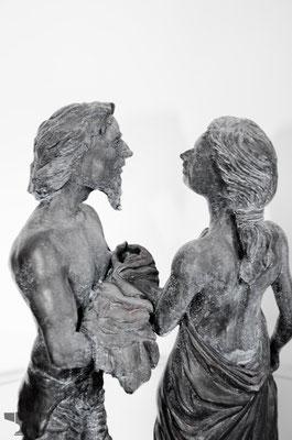 "Tonfigur,pattiniert ""Giuseppe & Maria"""