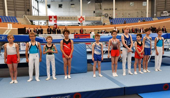 Lois Médico et Théo Scaletta lors de la présentations des gymnastes en lice en U11 garçons