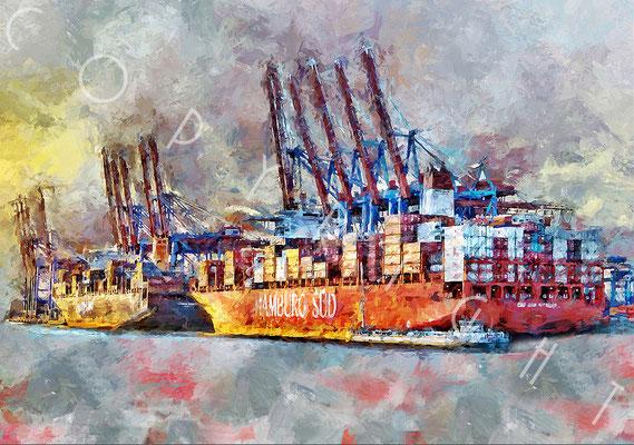 "Containerschiff - ""Cap San Nicolas"" - 100 x 75 cm Druck auf Leinwand / Alu Dibond"