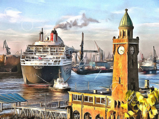 """Queen Mary 2"" im Trockendock Elbe 17 - 100 x 75 cm Druck auf Leinwand / Alu Dibond"
