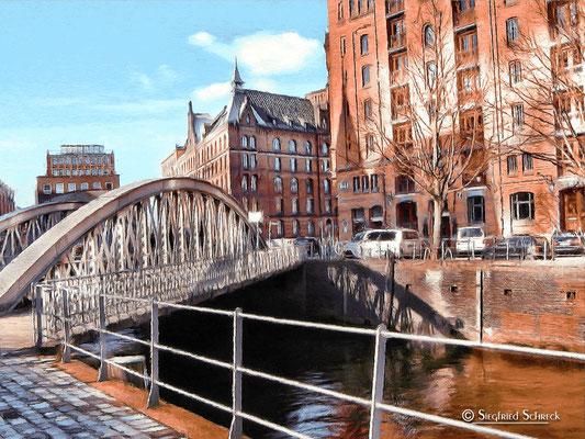 """Speicherstadt 7 """"Neuerwegsbrücke"""" - Format 100 x 75 cm / Druck auf Leinwand , Alu Dibond oder Acrylglas"""