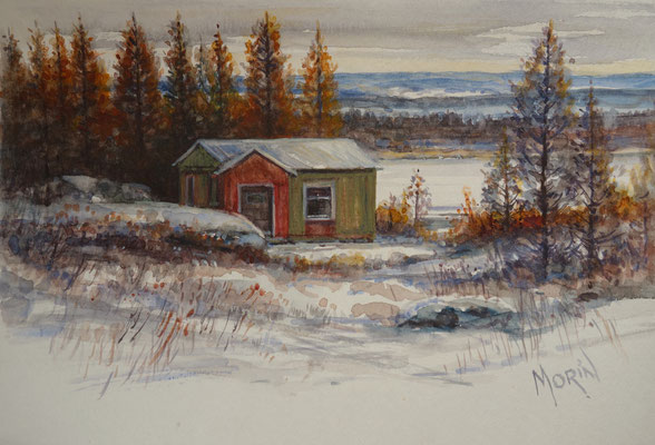 CAMP INUIT  - aquarelle- PRIVATE COLLECTION