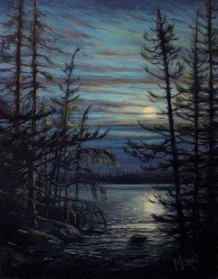 Pleine lune sur Mistassini • Huile sur toile • Dimension : 14po x 10 po - DISPONIBLE