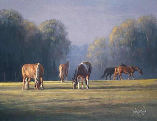 Déjeuner sur l'herbe - Huile sur toile • Dimension : 14 po x 18 - DISPONIBLE