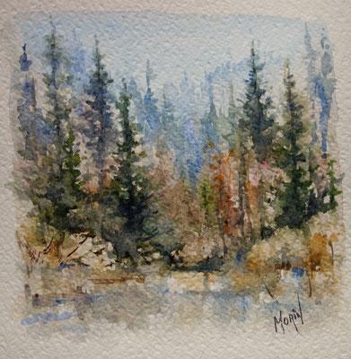 AU PIED DE LA MONTAGNE - aquarelle - prix : 75 $