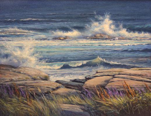 Vagues sur la côte • Huile sur toile • Dimension : 14 po x 11  po - DISPONIBLE