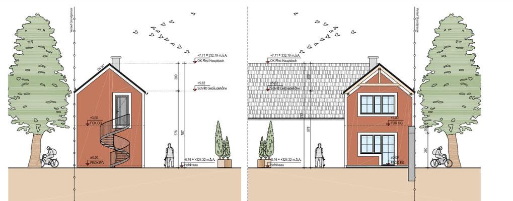Der geplante Neubau von vorne und hinten - das Gästezimmer hinten kann unabhängig vom Haupthaus mit einer Wendeltreppe erreicht werden.
