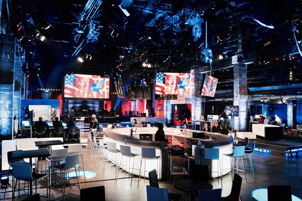 Firmenevent. Offizielle Live-Übertragung der US-Wahlen 2016 Clinton vs. Trump in der Eventlocation HALLE Tor2.