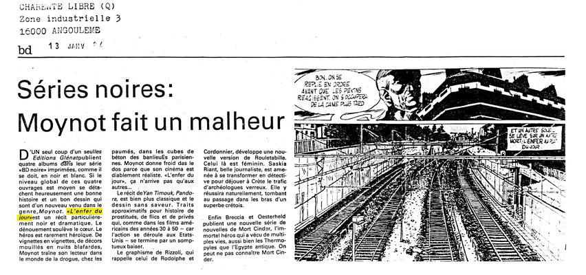 Article Charente Libre janvier 1984