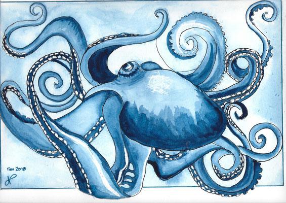 Poulpe bleu aquarelle nov 2018