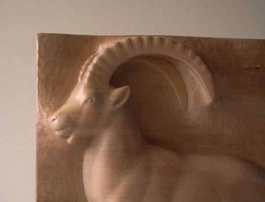 Bouquetin (Capra ibex -  Alpine ibex ) - sculpture haut-relief bois - taille x 1/3 - D. Rautureau - Ecrins - Maison du Parc de Briançon