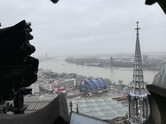 大聖堂の一番高い所からライン川を望む
