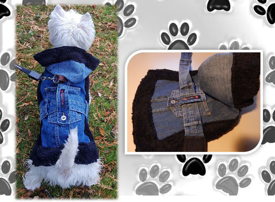 Hundemantel aus Jeans mit Fellrand