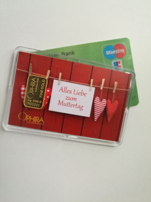 Motivbarren Geschenkbarren Alles Liebe zum Muttertag mit Goldbarren 5 Gramm