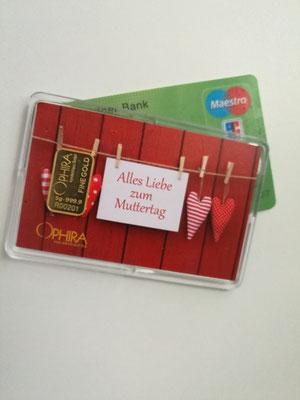 Geschenkbarren  Muttertag Größenvergleich mit Scheckkarte