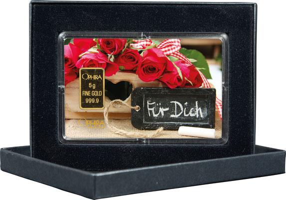 Valentinstag Für Dich mit einem Goldbarren in edlem Etui