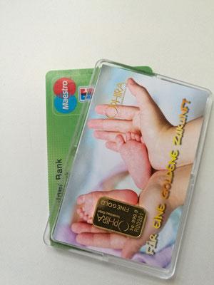 Motivbarren Geschenkbarren Für eine goldene Zukunft mit Goldbarren 5 Gramm