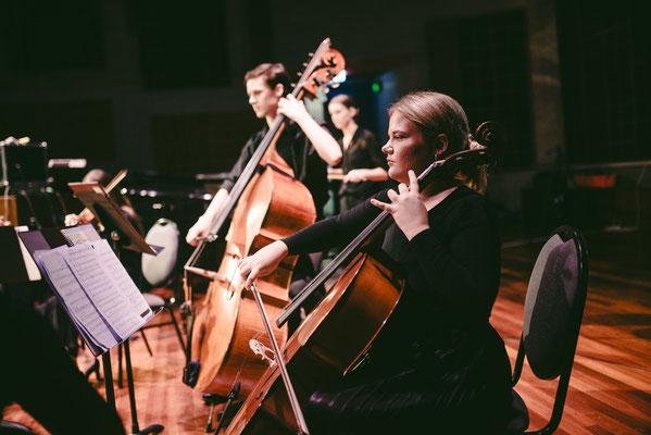 Kaila Thomas (Cello) and Oakley Paul (Double Bass)