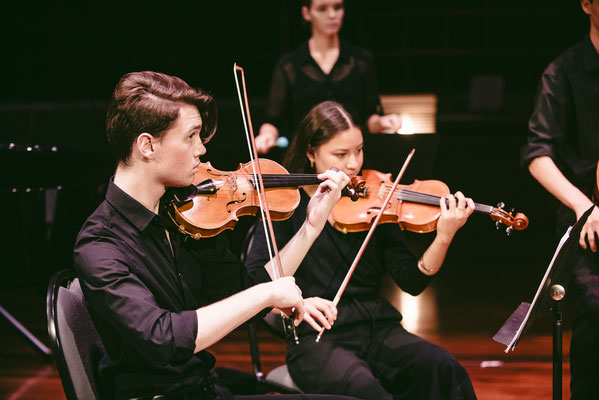 Patrick Meyer (Violin I) and Aya Smith (Violin II)