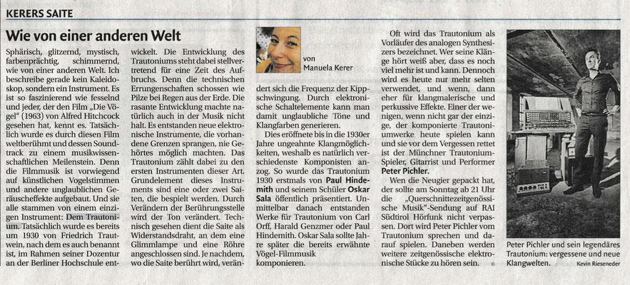 """Peter Pichler auf """"Kerers Saite"""" in Dolomiten Zeitung"""