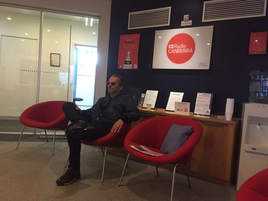 Peter waiting for his interview at ABC Radio Canberra