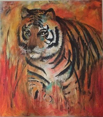 Tiger Bild in Acryl Krea Kurse Malschule Allschwil Rice Wunderli ZeichenschuleZeichenschule, Zeichenunterricht, Zeichenkurse, Allschwil, Basel-Land, Zeichnen lernen, Malen lernen
