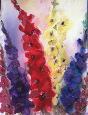 Gladiolen Bild in Aquarell Krea Kurse Malschule Allschwil Rice Wunderli ZeichenschuleZeichenschule, Zeichenunterricht, Zeichenkurse, Allschwil, Basel-Land, Zeichnen lernen, Malen lernen